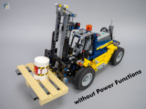 LEGO Technic 42079 Heavy Duty Forklift RC mod without Power Functions upgrade pack
