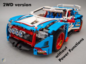 LEGO Technic 42077 Rally Car 2WD RC mod without Power Functions upgrade pack